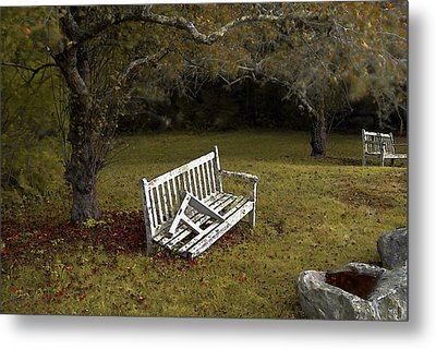 Old Benches Metal Print