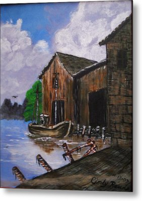 Old Boat At Dock Metal Print by Cynthia Farmer