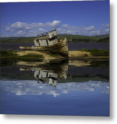 Old Boat Reflection Metal Print by Garry Gay