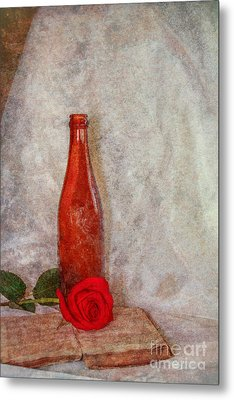 Old Book Bottle And Rose Still Life Metal Print by Randy Steele
