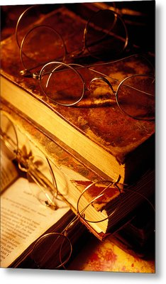 Old Books And Glasses Metal Print by Garry Gay