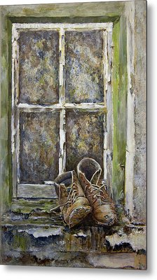 Old Boots Metal Print by Marty Garland