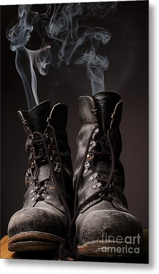 Old Boots With Smoke Metal Print