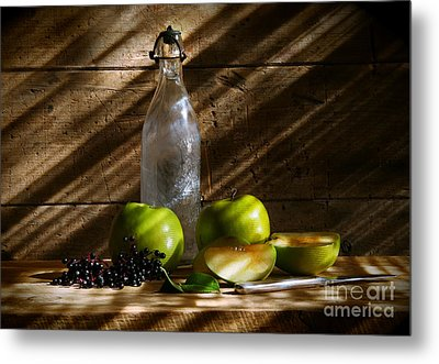 Old Bottle With Green Apples Metal Print by Sandra Cunningham