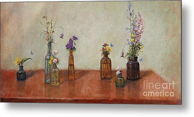 Old Bottles And Wildflowers Metal Print by Lori  McNee