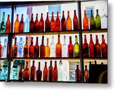 Old Bottles In Window Metal Print