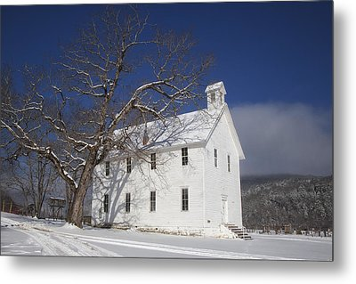 Old Boxley Community Building And Church In Winter Metal Print by Michael Dougherty