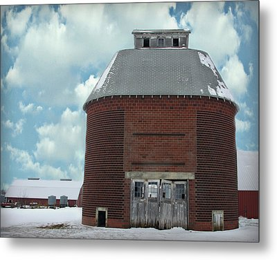 Old Brick Corn Crib Metal Print by Kathy M Krause