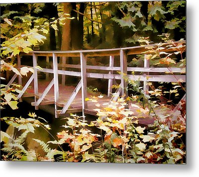 Old Bridge In The Woods In Color Metal Print