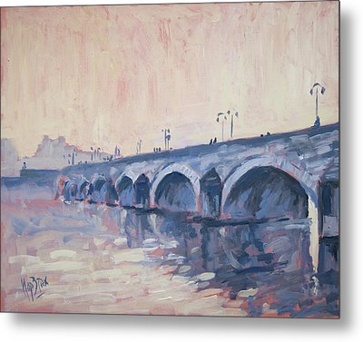 Old Bridge Of Maastricht In Warm Diffuse Autumn Light Metal Print by Nop Briex