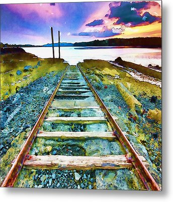 Old Broken Railway Track Watercolor Metal Print by Marian Voicu