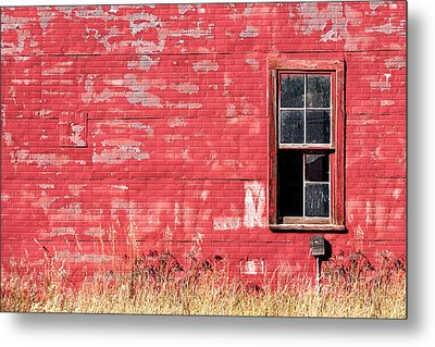 Old Building Red Wall Metal Print