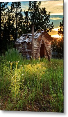 Old Cabin At Sunset Metal Print by James Eddy