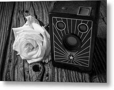 Old Camera And White Rose Metal Print