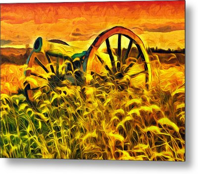 Old Cannon In A Sunset Field Metal Print by Georgiana Romanovna