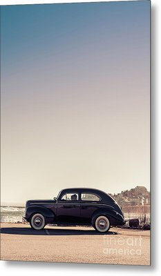 Old Car At The Beach Metal Print by Edward Fielding