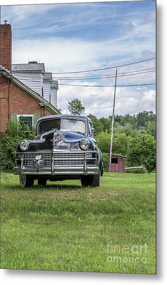 Old Car In Front Of House Metal Print by Edward Fielding