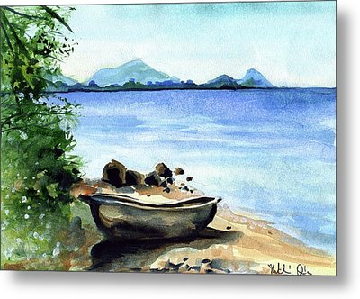 Metal Print featuring the painting Old Carved Boat At Lake Malawi by Dora Hathazi Mendes