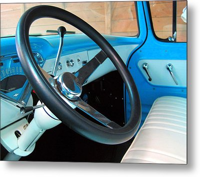 Old Chevy Steering Wheel Metal Print