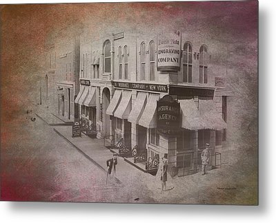 Old Chicago 02 Street View Textured Metal Print by Thomas Woolworth