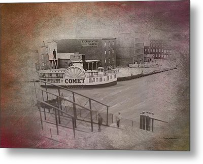 Old Chicago 07 River View Textured Metal Print by Thomas Woolworth