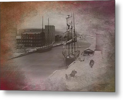 Old Chicago 08 River View Textured Metal Print by Thomas Woolworth