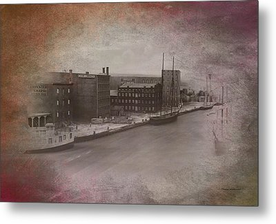 Old Chicago 11 River View Textured Metal Print by Thomas Woolworth