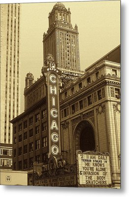 Old Chicago Theater - Vintage Photo Art Print Metal Print by Art America Gallery Peter Potter