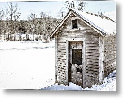 Old Chicken Coop In Winter Metal Print