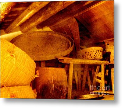 Old Chinese House Attic Metal Print by Kathy Daxon