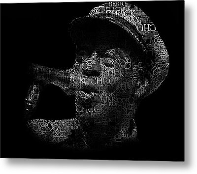 Old Chuck Berry Singing Text Portrait - Typographic Face Poster With The Name Of Chuck Berry Albums Metal Print