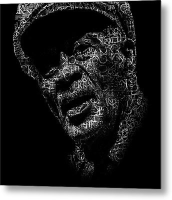 Old Chuck Berry Text Portrait - Typographic Face Poster With The Name Of Chuck Berry Albums Metal Print