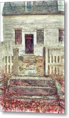 Old Colonial Home Shaker Village Pencil Metal Print by Edward Fielding