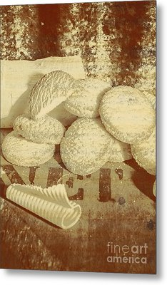 Old Cookie Tin Sign Art Metal Print
