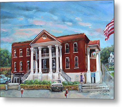 Metal Print featuring the painting Old Courthouse In Ellijay Ga - Gilmer County Courthouse by Jan Dappen