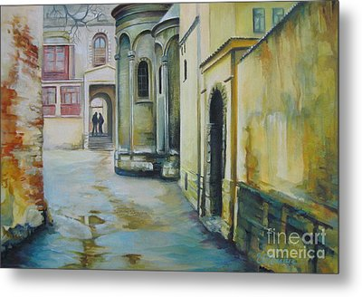Metal Print featuring the painting Old Courtyard by Elena Oleniuc