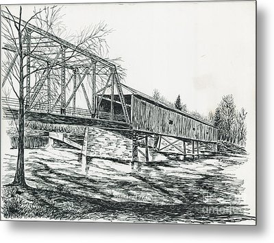 Old Covered Bridge Metal Print by Samuel Showman