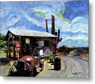 Old Desert Gas Station Metal Print