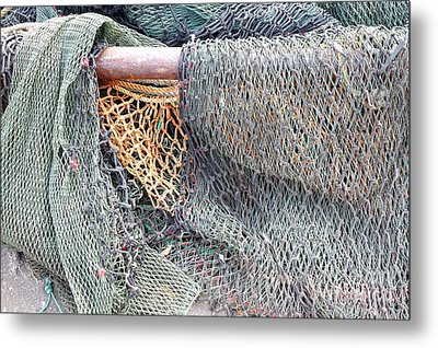 Metal Print featuring the photograph Old Discarded Fishing Nets by Yali Shi