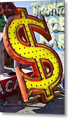Old Dollar Sign Metal Print by Garry Gay