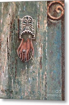 Old Door Knocker Greece  Metal Print by Viktoriya Sirris