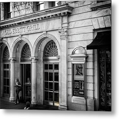 Old Ebbitt Grill In Black And White Metal Print by Chrystal Mimbs