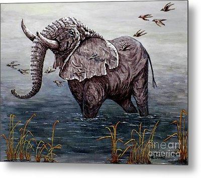 Old Elephant Metal Print by Judy Kirouac