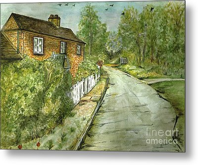 Metal Print featuring the painting Old English Cottage by Teresa White