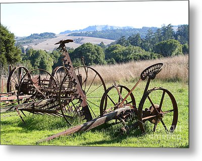 Old Farm Equipment . 7d9744 Metal Print by Wingsdomain Art and Photography