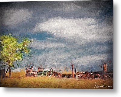Old Farm Equipment - Antelope Island - Signed Limited Edition Metal Print by Steve Ohlsen