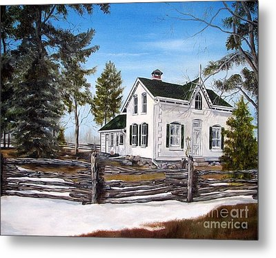 Metal Print featuring the painting Old Farm House by Anna-Maria Dickinson