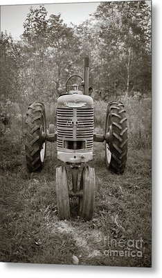 Metal Print featuring the photograph Old Farmall Tractor Springfield New Hampshire Sepia by Edward Fielding
