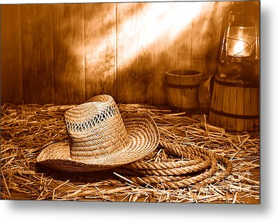 Old Farmer Hat And Rope - Sepia Metal Print
