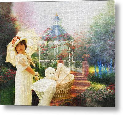 Old Fashion Child Strolling Metal Print by Trudy Wilkerson
